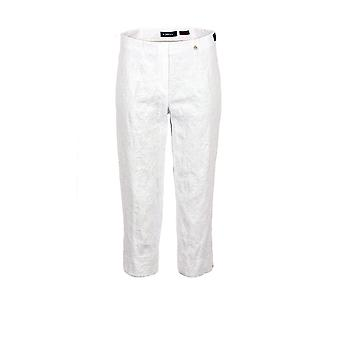 Robell Marie Jacquard Cropped Trousers in White