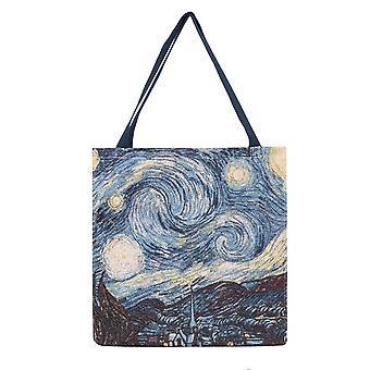 Van gogh - starry night shopper gusset bag by signare tapestry / guss-art-vg-star