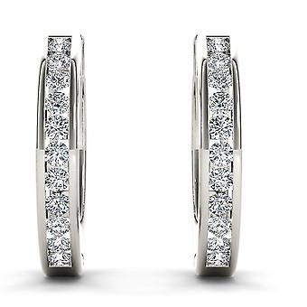 Igi gecertificeerd solide 10k wit goud 0.33 ct natuurlijke diamanten hoepel oorbellen
