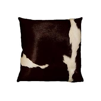 """18"""" x 18"""" x 5"""" Chocolate And White Cowhide - Pillow"""