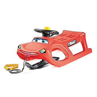 Children's sleigh Zigi Control red steering wheel, skid, steerable, horn drawstring from 3 years