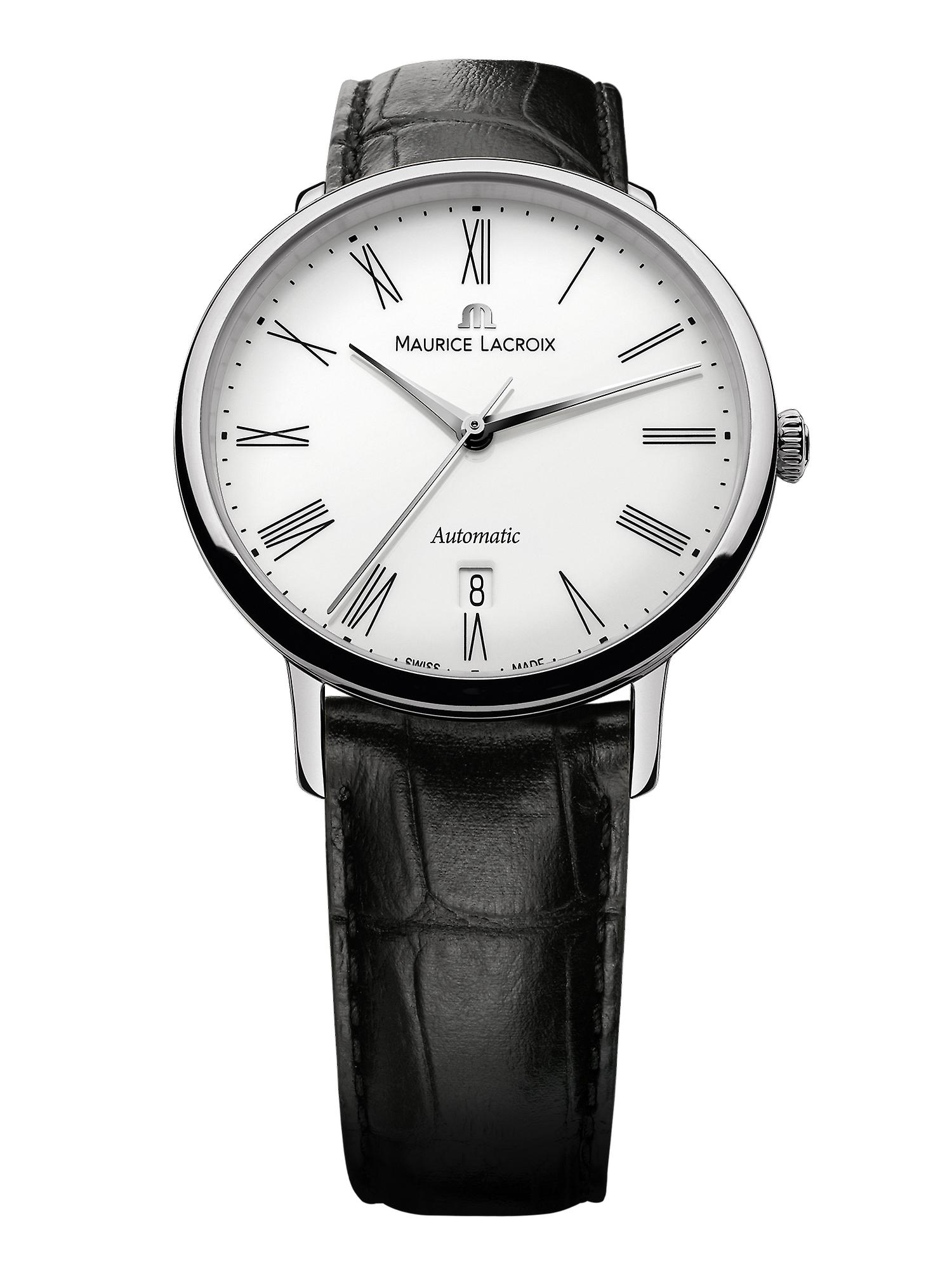 Maurice LaCroix Les Classiques Automatic White Dial Black Leather Strap Watch LC6067-SS001-110-1 RRP £1,700
