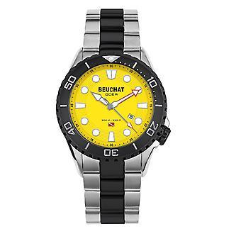 Beuchat Watch BEU0098-5 - Watch Ocea Sapphire Color Unidirectional Glass Steel Steel Yellow Dial Etanche 300 m tres Men