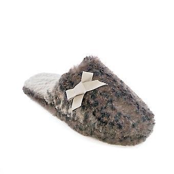 SlumberzzZ Womens Leopard fausse fourrure Mule Style chaussons - gris - 3-4 UK