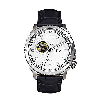 Reign Bauer Automatic Semi-SkeletonLeather-Band Watch - Silver/White