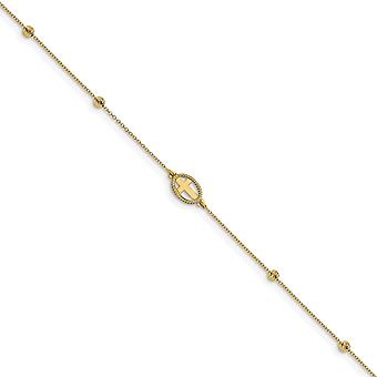 14k Gold Polished Sparkle Cut Beaded Religious Faith Cross With 1inch Ext. Anklet 9.5 Inch Jewelry Gifts for Women