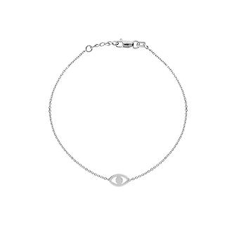 14k White Gold Adjustable Cut Out Evil Eye Bracelet With Spring Ring Closure 7.50 Inch Jewelry Gifts for Women