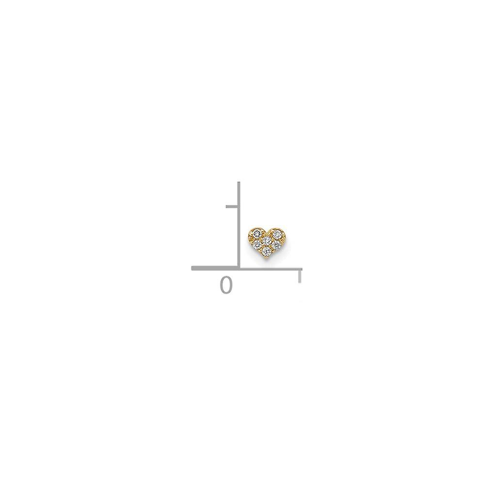 3.98mm 14k CZ Cubic Zirconia Simulated Diamond Love Heart Pendant Necklace Labret Face Jewelry Jewelry Gifts for Women