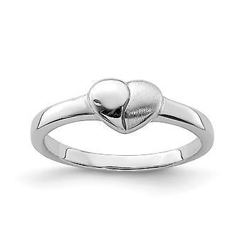 925 Sterling hopea kiillotettu ja satiini rakkaus sydän rengas - rengas koko: 3-4
