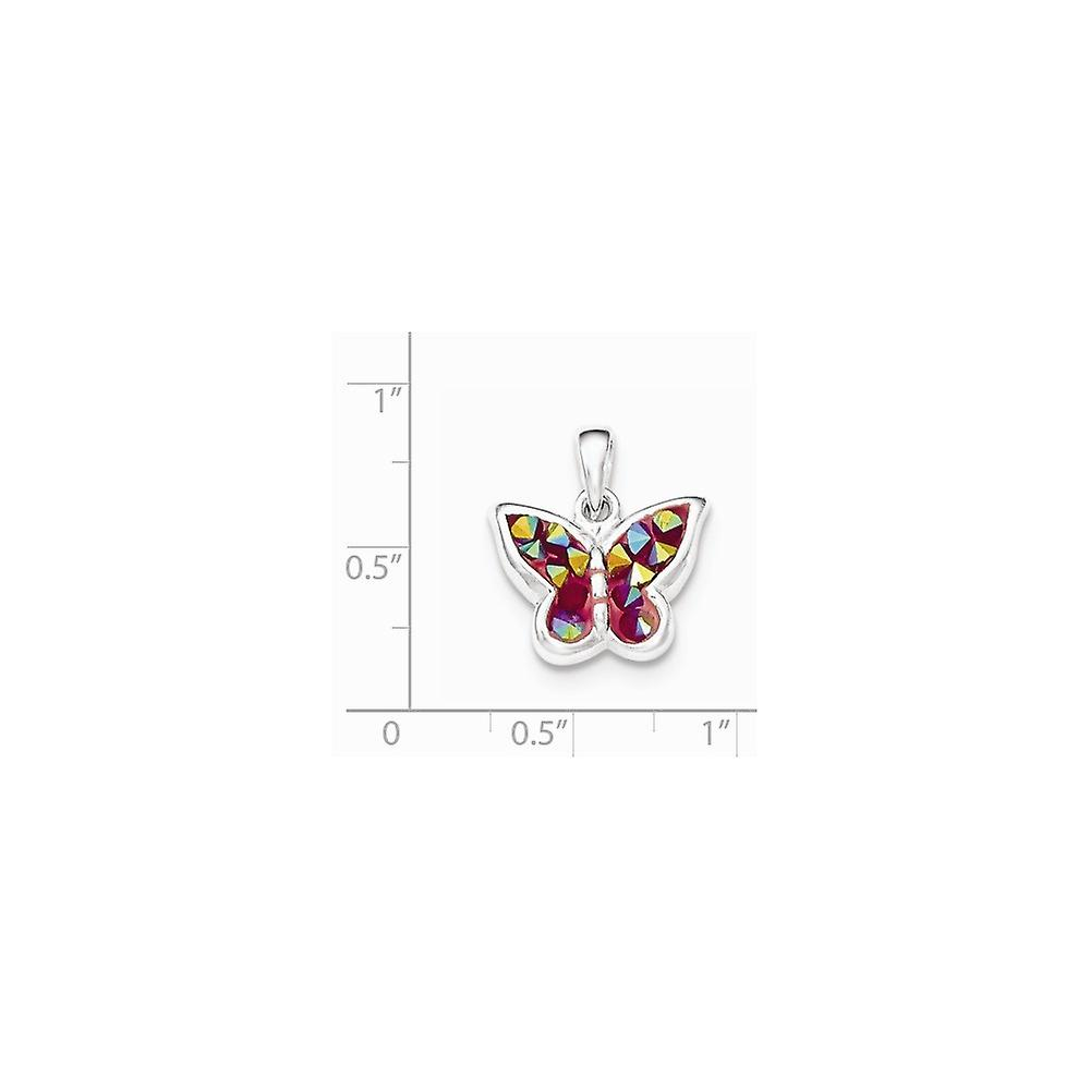 925 Sterling Silver Pink Crystal Butterfly Angel Wings Pendant Necklace Jewelry Gifts for Women