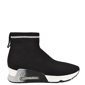 Ash LOVELY BIS Trainers Black & Silver Metallic Stretch Knit
