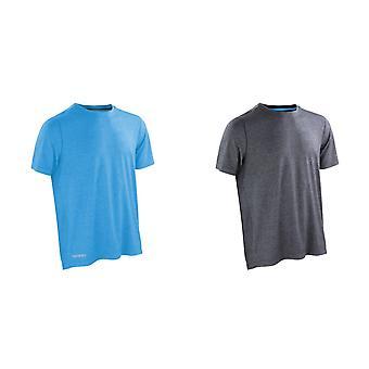 Spiro Mens glänsande Marl Kortärmad Fitness T-Shirt