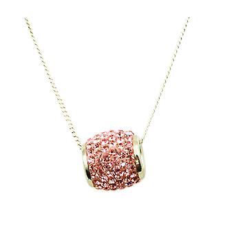 Toc Sterling Silver Barrel Pendant with Pink Crystals on 18 Inch Chain