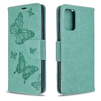 For Samsung Galaxy S20 Ultra Case, Butterflies Pattern PU Leather Wallet Cover with Stand & Lanyard, Green