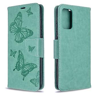 Für Samsung Galaxy S20 Ultra Fall, Schmetterlinge Muster PU Leder Brieftasche Abdeckung mit Stand & Lanyard, grün