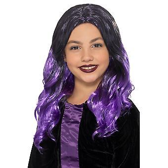 Kinderen pruik heks zwart paars Halloween carnaval accessoire kinderen heks pruik