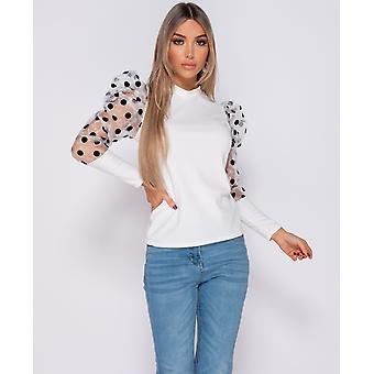 Organza Polka Dot Puffed - High Neck Top -Wit