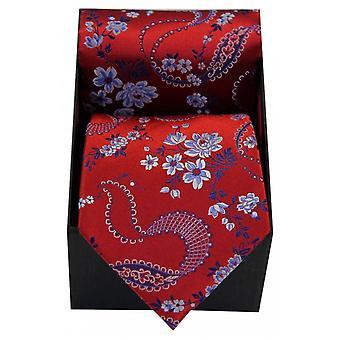 David Van Hagen Floral patroon stropdas en de doos van de Gift van de zakdoek - rood