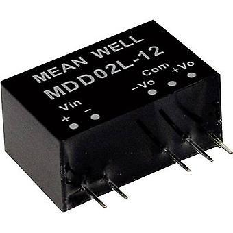 يعني جيدا MDD02M-12 DC / DC محول (وحدة) 83 mA 2 W لا. من النواتج: 2 x