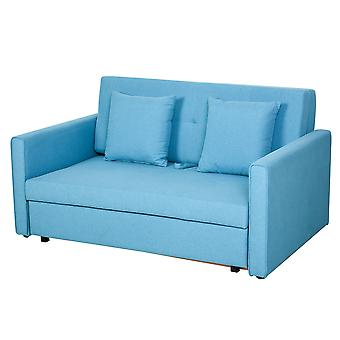 HOMCOM 2-Seater Storage Sofa Convertible Bed Wood Frame Padding Compact Polycotton Couch Home Office Comfort Blue