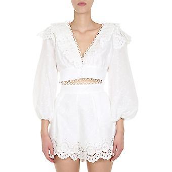 Zimmermann 8386tbtdivo Women's White Linen Top