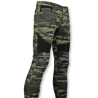 Army Style Biker Jeans Zip - Green