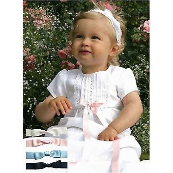 Christening Gown With Short Sleeve, Free Bow, Grace Of Sweden