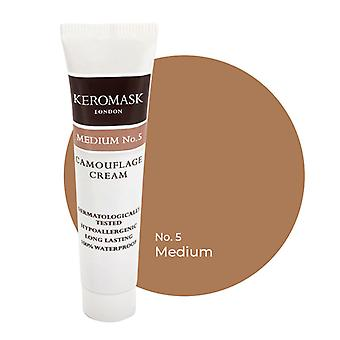 Keromask Full Cover Concealer | 24 Shades | Covers Vitiligo, Rosacea, Scars, Tattoos | Waterproof Camouflage Makeup | Medium No 5 | 15ml