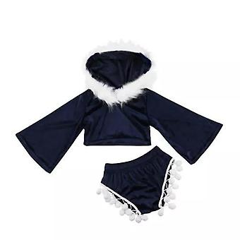Toddler hooded tops and tassels shorts