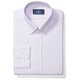 "BUTTONED DOWN Men's Classic Fit Button-Collar Solid Non-Iron Dress Shirt (No Pocket), Purple, 17.5"" Neck 34"" Sleeve"