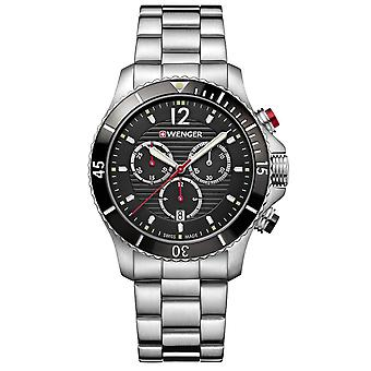 Wenger Seaforce Chronograph Quartz Black Dial Stainless Steel Bracelet Men's Watch 01.0643.109