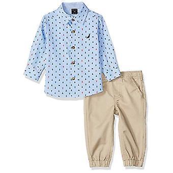 Nautica Baby Boys 2 Pieces Shirt Pants Set, Blue/Print, 6-9 Months