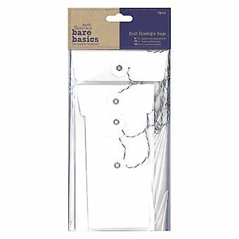 Papermania Bare Basics Kraft Envelope Bags Rectangular White (6pcs) (PMA 174226)