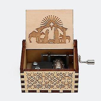 Amazing Grace Hymns & Christmas Carols Hand Crank Wooden Music Box For Christmas