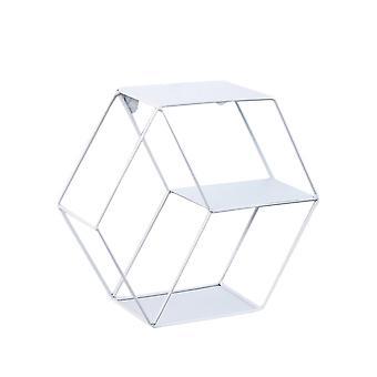 Creative Iron Hexagon Storage Rack Wall Hanging Shelf Decor White