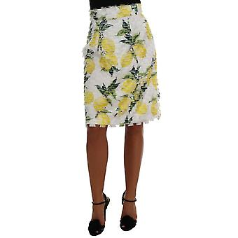 Dolce & Gabbana Lemon Print Fringe Pencil Skirt SKI1034-5
