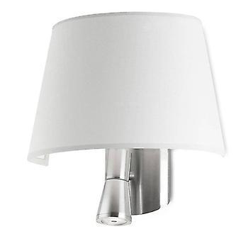 1+1 lichte binnenwandlamp Satin Nickel met witte tint, E27