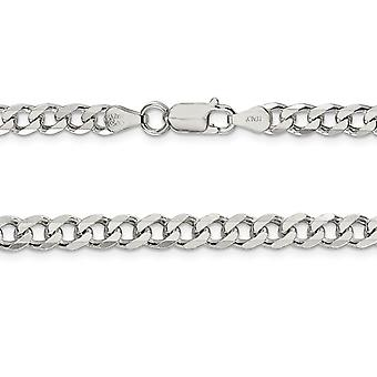 Curb Chain Bracelet in Sterling Silver 7 Inches (6.0mm)