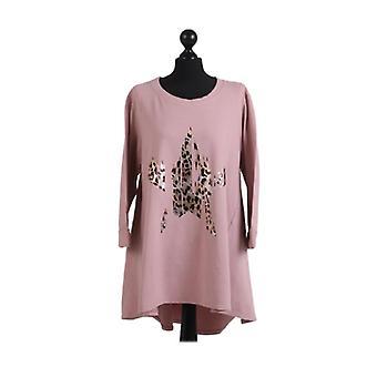 Womens Foil Leopard Star Print Dipped Hem Top | Pink | One Size (UK12-18)