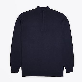 Thomas Maine  - Merino Half Zip Sweater - Navy