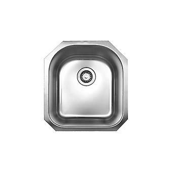 """La collezione Noah spazzolata in acciaio inossidabile singolo lavandino sottomontato a forma di D - 3 1/2"""" Apertura di scarico centrale posteriore, acciaio inossidabile spazzolato"""