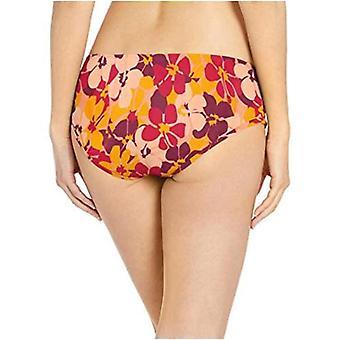 أساسيات المرأة & apos;ق هيبستر بيكيني ملابس السباحة القاع, البرتقال الأزهار, L