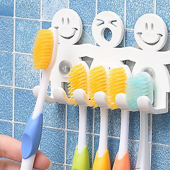 5-position Cute Smile Cartoon Sucker, Tooth Brush Holder, Suction Hooks Sets