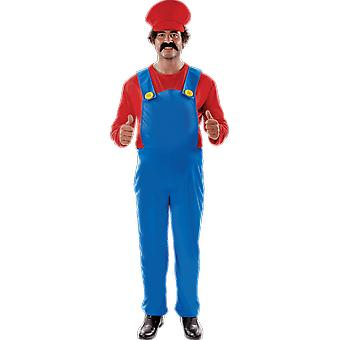 Mens Super Mario plus maat 80s retro video game Stag nacht fancy dress kostuum