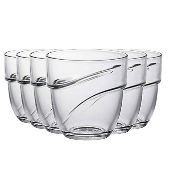 Duralex Wave Stackable Drinking Glasses - 220ml Tumblers for Water, Juice - Pack of 6
