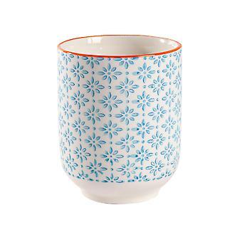 Nicola Spring Hand Printed Porcelain Mug - Japanese Style Print - 280ml - Blue