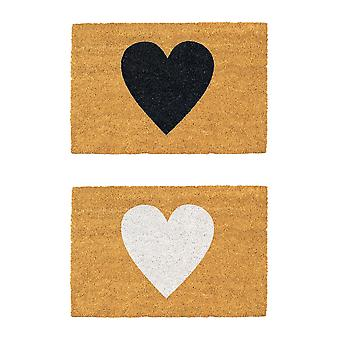 Nicola Spring 2pc Nicola Spring Non-Slip Deur Mat Set - 60 x 40cm - Witte en zwarte harten