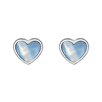 Dew Silver Dinky Blue Mother Of Pearl Heart Stud Earrings 3062BMP028