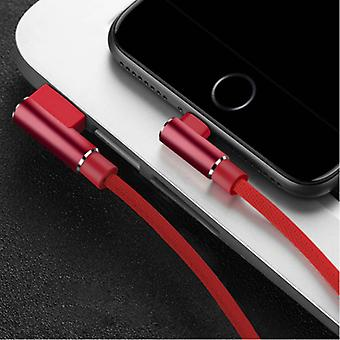 Nohon iPhone Lightning Charging Cable 90 ° - 3 Meter - Braided Nylon Charger Data Cable Android Red