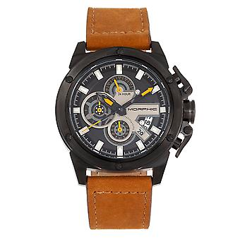Morphic M81 Series Chronograph Leather-Band Watch w/Date - Camel/Black